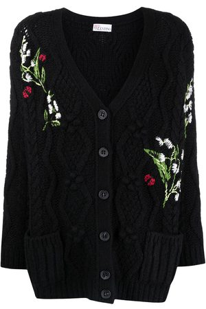 RED Valentino Flower-detail intarsia-knit cardigan
