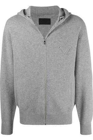 Prada Logo patch knitted hoodie