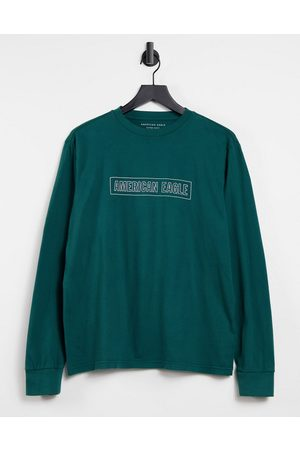 AMERICAN EAGLE Central logo long sleeve top in green