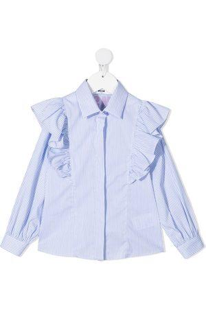 Msgm Menina Camisas - Ruffled-detail long-sleeve shirt