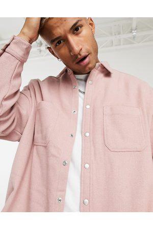 ASOS Wool mix shirt in dusky pink