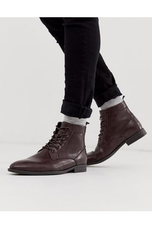 ASOS Vegan lace up boots in brown faux leather