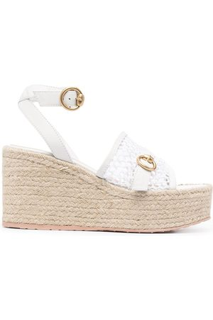 Gianvito Rossi Fishnet detail wedge sandals