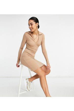 New Look Polo collar rib dress in camel-Brown