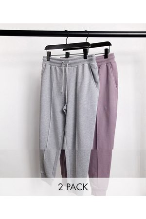 ASOS Tapered joggers with pin tuck in grey marl & purple 2 pack-Multi