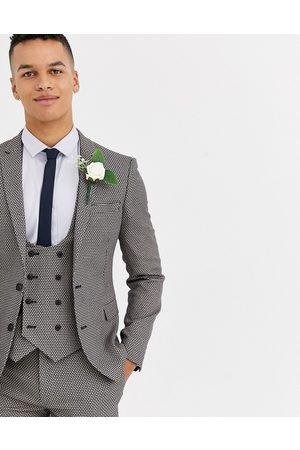 ASOS Wedding super skinny suit jacket in micro texture in grey-Tan