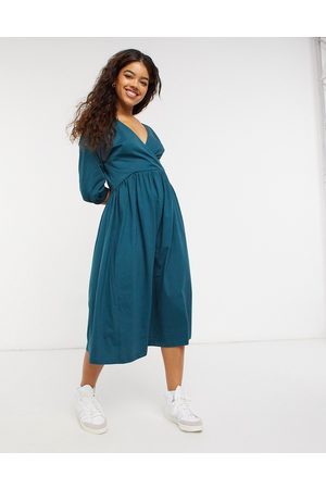 ASOS Midi smock dress with wrap top in forest green
