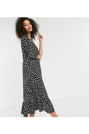 Missguided Smock midi dress with ruffle hem in black