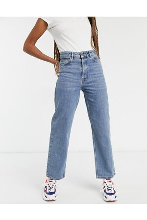 Selected Femme Kate organic cotton straight leg jeans with high waist in blue