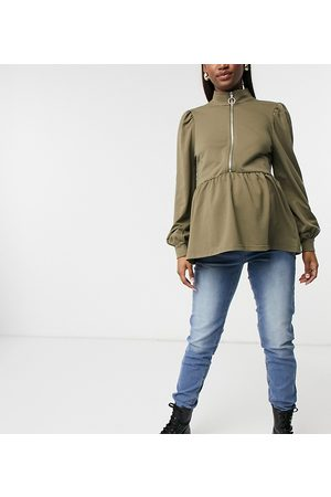 Mama Licious Mamalicious Maternity sweat top with high neck and zip in camel-Neutral