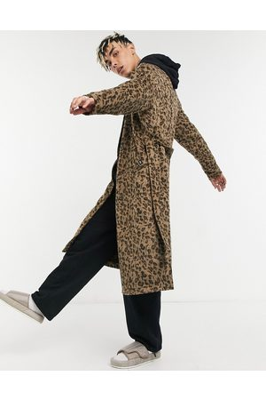 Vintage Supply Jacquard trench coat in leopard print-Tan