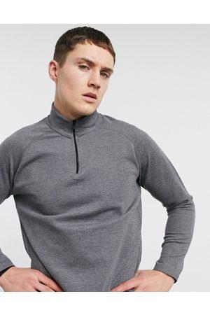HIIT Training tech 1/4 zip long sleeve top in charcoal-Grey