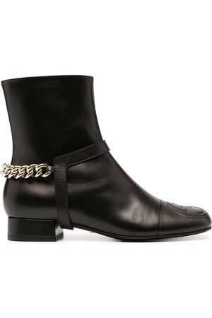 Gucci Chain-trim leather ankle boots