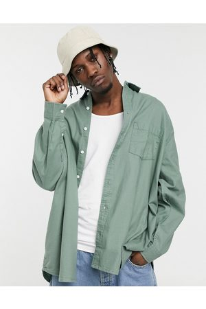 ASOS Extreme oversized flannel shirt in dark sage-Green