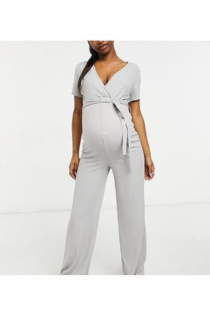 Missguided Wide leg jumpsuit with wrap detail in grey