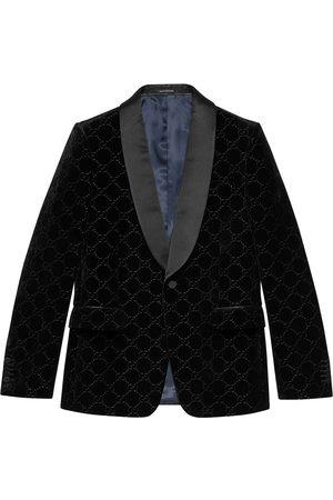 Gucci Homem Blazers - Velvet-effect GG embroidery blazer