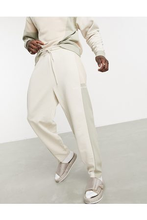 ASOS Co-ord oversized joggers with cut and sew in neutral-Beige