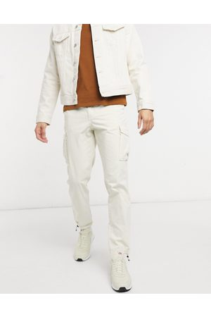 Selected Cargo trouser with cuffed hem in beige