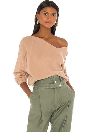 LINE & DOT Favorite Off Shoulder Sweater in - Tan. Size L (also in S, M).