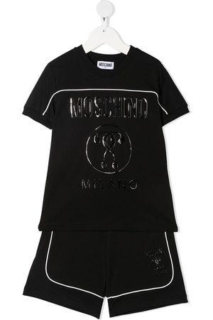 Moschino Kids Wet-look logo print tracksuit set