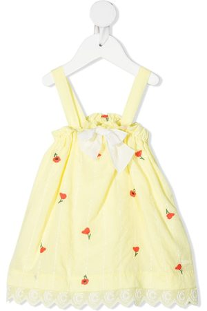 Chloé Kids Floral-embroidered scalloped dungarees