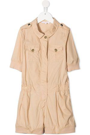 Chloé Kids Short-sleeve cotton playsuit