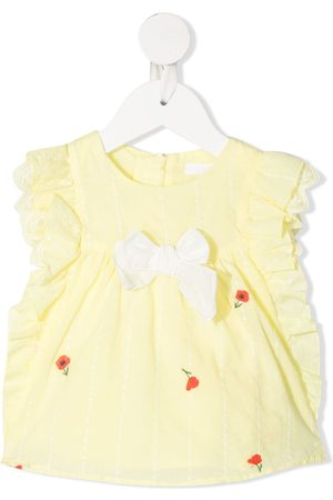 Chloé Kids Floral-embroidered ruffled blouse
