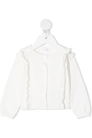 Chloé Kids Ruffle-detailed knitted cardigan