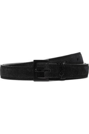 Saint Laurent Homem Cintos - 2cm Logo-Embellished Suede Belt