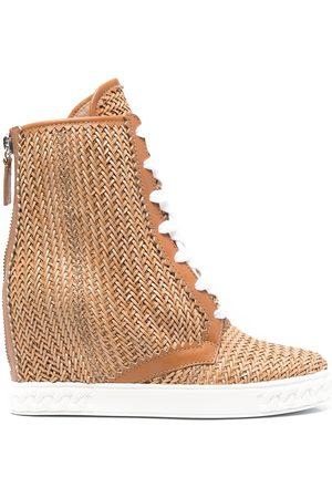 Casadei Senhora Cunha - Ina 80mm woven wedge boots