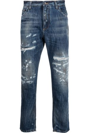 Dolce & Gabbana Homem Retos - Ripped detailing cropped jeans