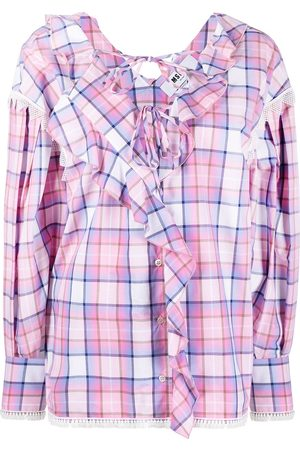 MSGM Senhora Blusas - Ruffle-trim checked blouse