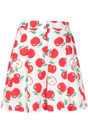Boutique Moschino Apple print pleated shorts