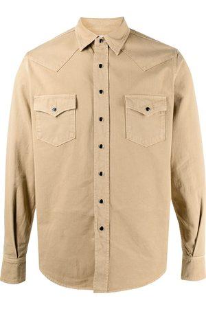 Saint Laurent Homem Ganga - Stonewashed western denim shirt