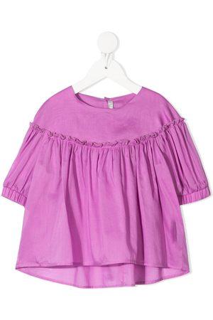 Il Gufo Menina Blusas - Ruched-detail cotton blouse