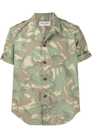 Saint Laurent Homem Manga curta - Camouflage print short-sleeve shirt