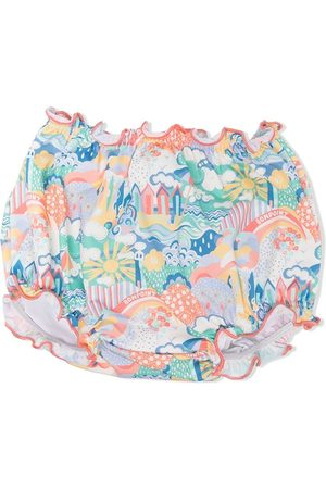 BONPOINT Menina Bikinis - Beach-print ruffled swim bottoms