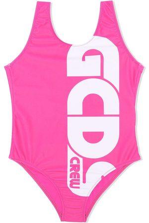 GCDS Menina Fatos-de-banho - Logo-print low-back swimsuit