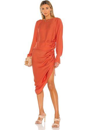 L'Academie The Geni Midi Dress in - Red. Size L (also in M, S, XL, XS, XXS).