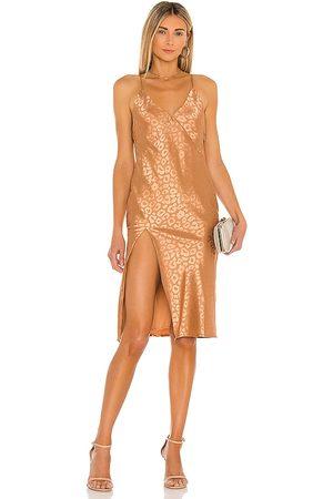 superdown Jinelle Midi Dress in - Brown. Size L (also in M, S, XL, XS, XXS).