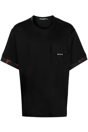 Dolce & Gabbana Homem T-shirts & Manga Curta - Camouflage-panelled crew neck T-shirt