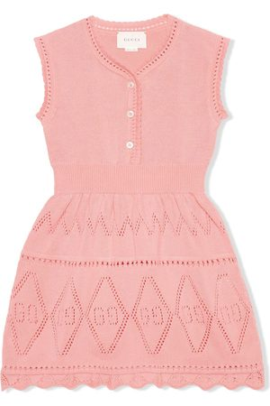 Gucci Kids GG perforated cotton dress