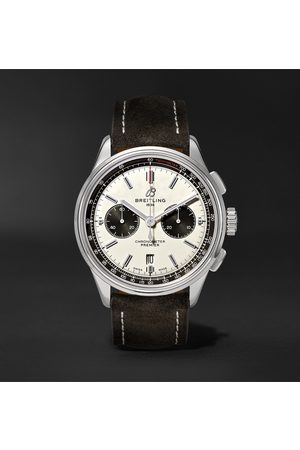 Breitling Homem Relógios - Premier B01 Automatic Chronograph 42mm Stainless Steel and Nubuck Watch, Ref. No. AB0118221G1X1