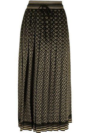 Gucci Senhora Saias Estampadas - Intarsia-knit logo-pattern midi skirt