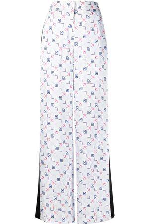 Karl Lagerfeld Senhora Calças Formal - Karl Tetris print tailored trousers