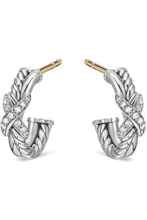 David Yurman X mini diamond hoop earrings