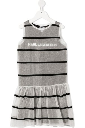 Karl Lagerfeld Kids Striped jersey-knit layered dress