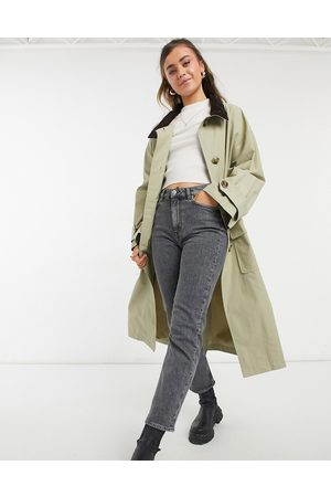 ASOS DESIGN Oversized trench coat with cord collar in stone