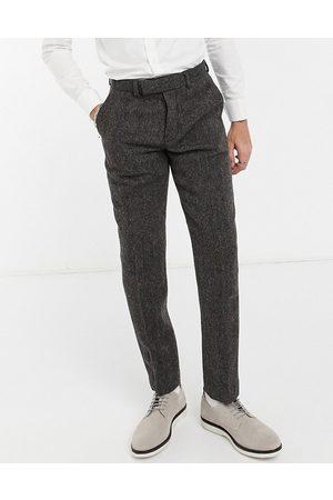 ASOS DESIGN Harris tweed 100% wool slim suit trousers in brown herringbone