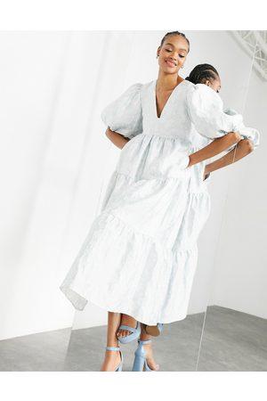 ASOS EDITION Jacquard smock dress in pale blue